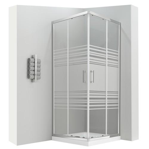 LANA Cabine de douche coulissante 185 cm semi-opaque