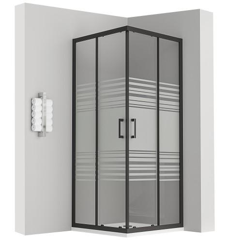 porte de douche coulissante noir 185 cm semi-opaque